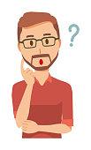 A bearded man wearing eyeglasses is thinking