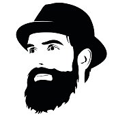 Bearded man with hat smiling looking away vector