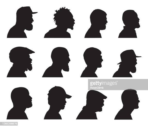 bearded men head profiles - profile view stock illustrations