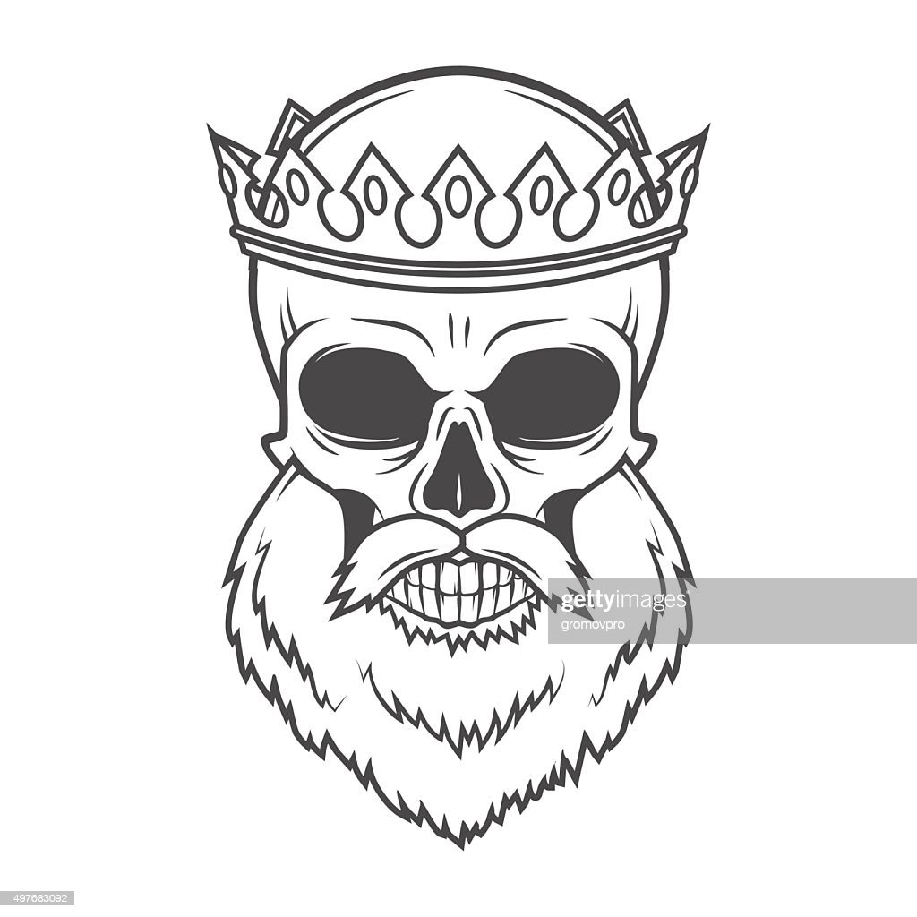 Bearded Skull King with Crown vector design. Vintage Royal old