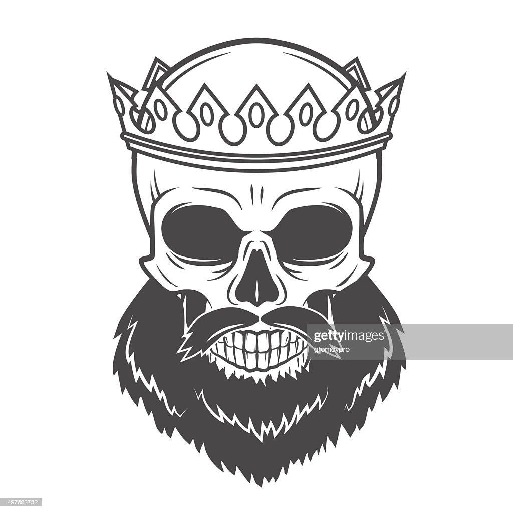 Bearded Skull King with Crown. Vintage Cruel tyrant portrait design