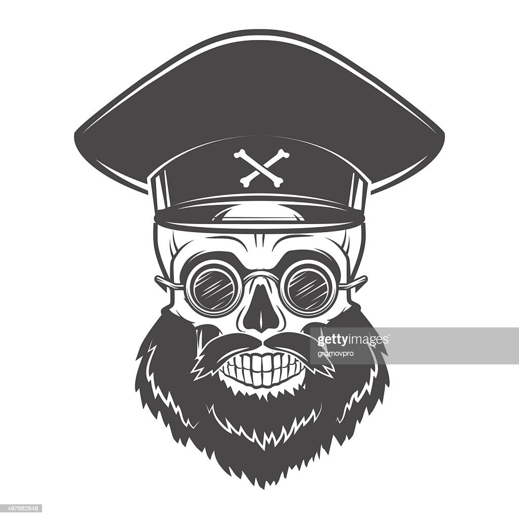 Bearded Skull with Captain cap and goggles. Dead crazy tyrant