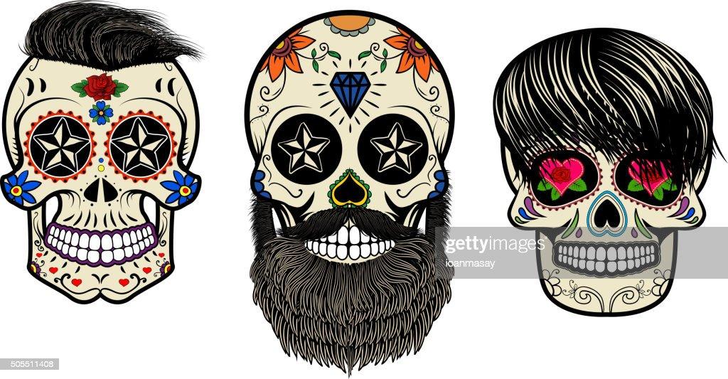 bearded skulls. Vector illustration.