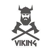 Bearded Viking helmet and crossed axes