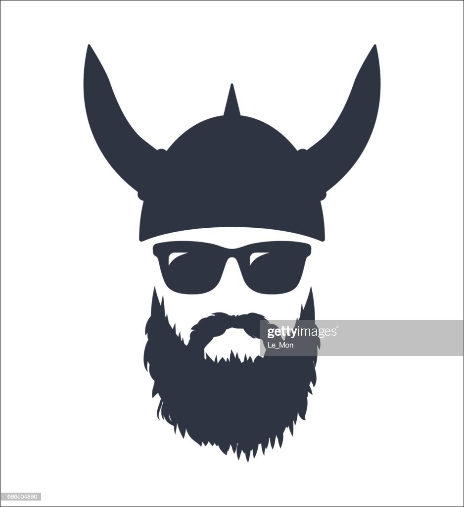 Bearded Viking wearing sunglasses and a helmet