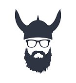Bearded Viking with glasses and helmet