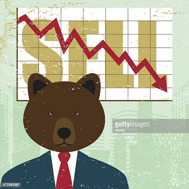 Bearish mercado bear tendencia descendente de la ciudad de compartir los inversionistas