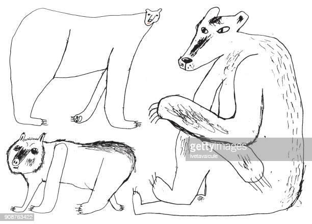 bears line art - mammal stock illustrations, clip art, cartoons, & icons