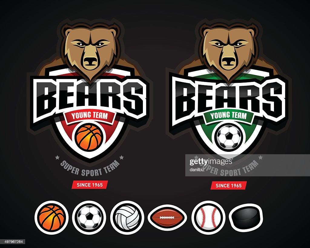 Bears sport logo team template constructor. Bear sport mascot.