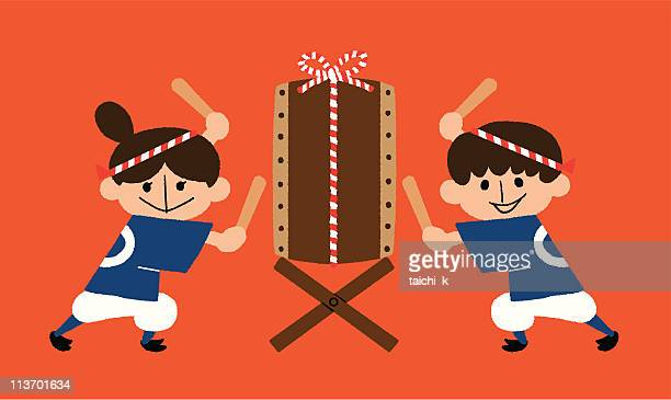 beat a japanese drum - only japanese stock illustrations, clip art, cartoons, & icons