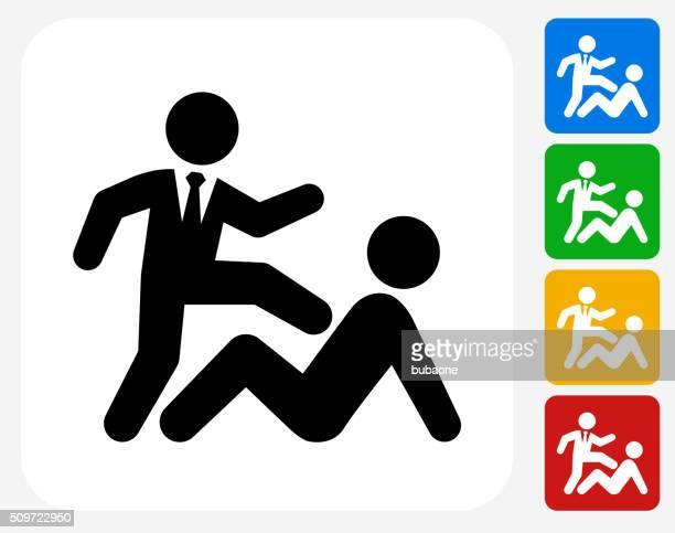 illustrations, cliparts, dessins animés et icônes de un homme d'affaires de battre icônes graphiques plates - se disputer