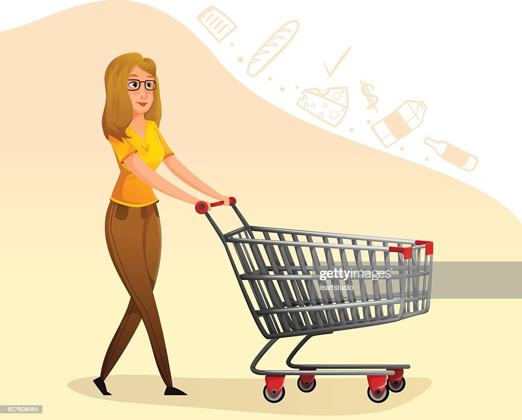 beaty brunette woman with shopping cart.