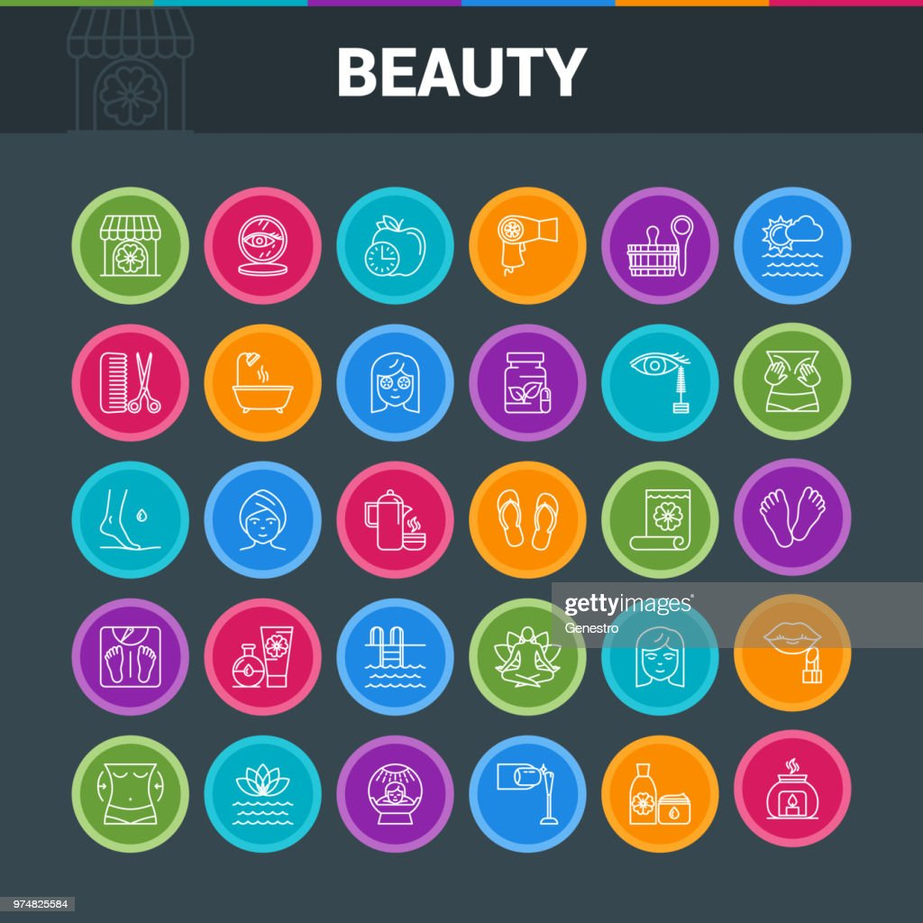 Beaty salon colorful icons