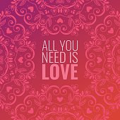 Beautiful abstract background with mandala ornament and quote about love