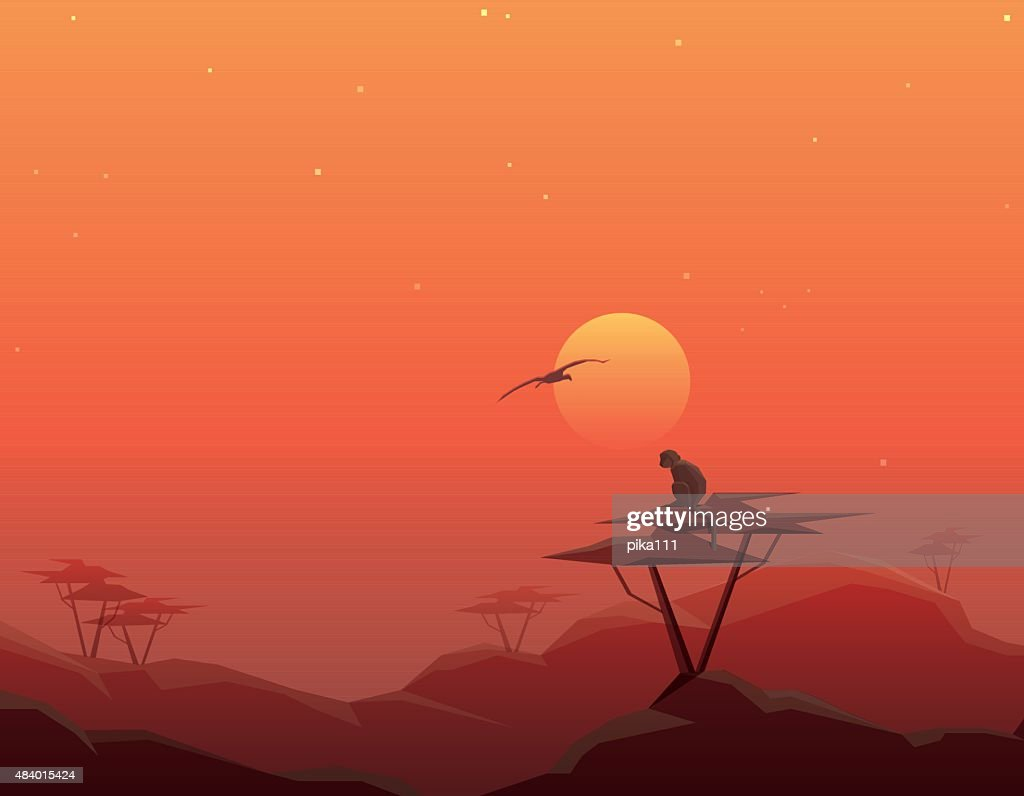 Beautiful abstract tranquil african landscape scenery on red sunset illustration