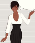 Beautiful african american business woman with blank speech bubble