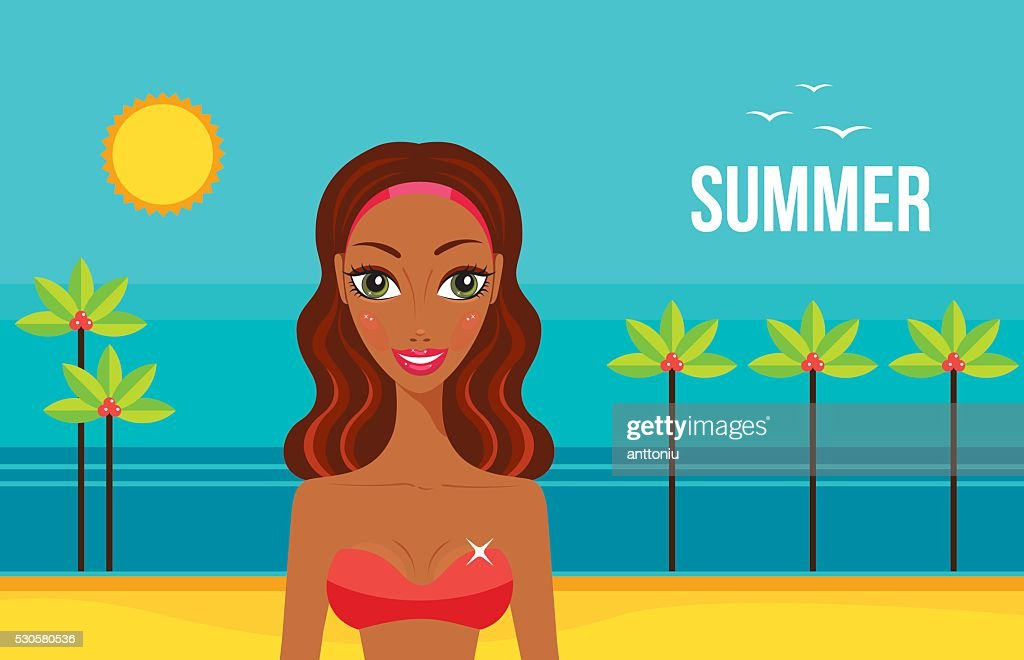 Beautiful African American woman on beach Summer vacation concept