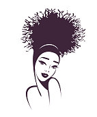 Beautiful African american woman with sophisticated hair bun style and makeup.Beauty and hair salon vector icon.