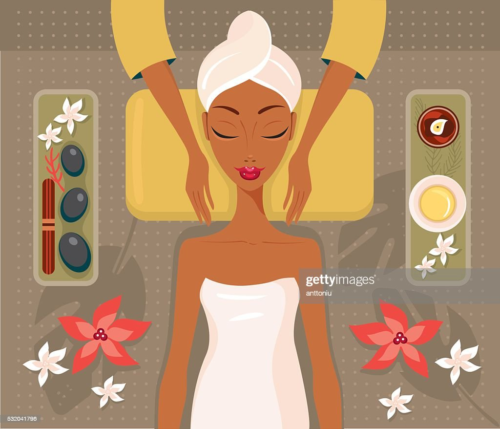 Beautiful African woman relaxing spa salon Face Body massage concept