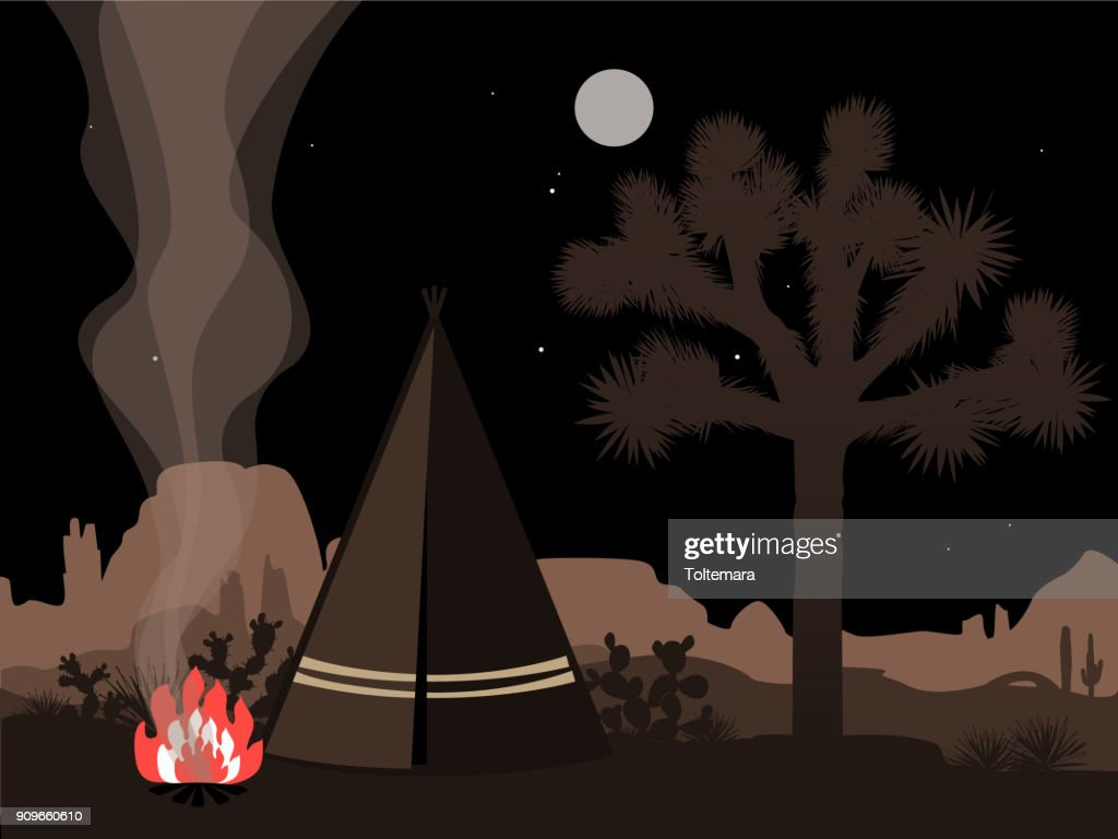 Beautiful amd mystic illustration with indian tepee, fire, and joshua tree silhouette