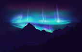 Beautiful Aurora Borealis northern lights in night sky over mountain. Vector illustration.