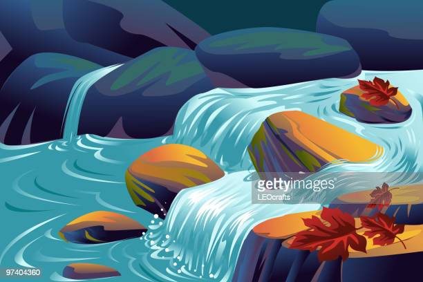 beautiful autumn background - waterfall stock illustrations, clip art, cartoons, & icons