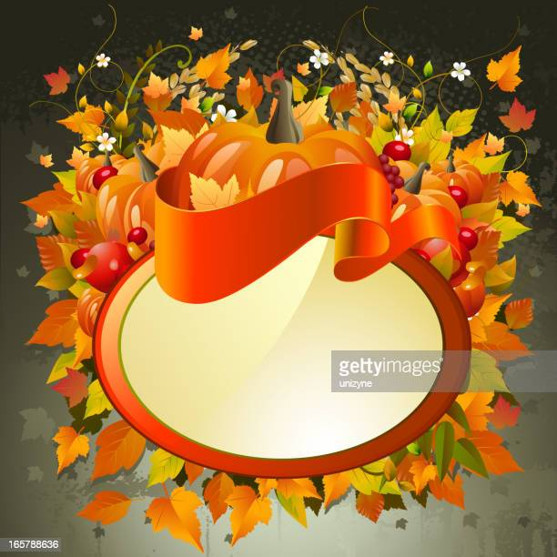 beautiful autumn background with banner - zea stock illustrations, clip art, cartoons, & icons