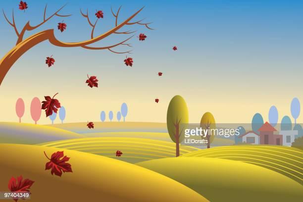 beautiful autumn background/landscape - rolling landscape stock illustrations
