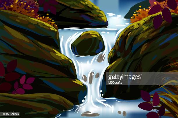 beautiful autumn background/water fall - waterfall stock illustrations, clip art, cartoons, & icons