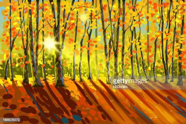 beautiful autumn landscape - atmospheric mood stock illustrations, clip art, cartoons, & icons