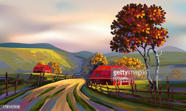beautiful autumn landscape - artistic product stock illustrations