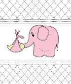 beautiful baby girl with a card for a pink elephant