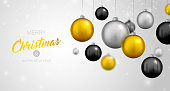 Beautiful background with Christmas decoration. Vector illustration of happy new year 2019 with 3d gold, black and silver Christmas balls.