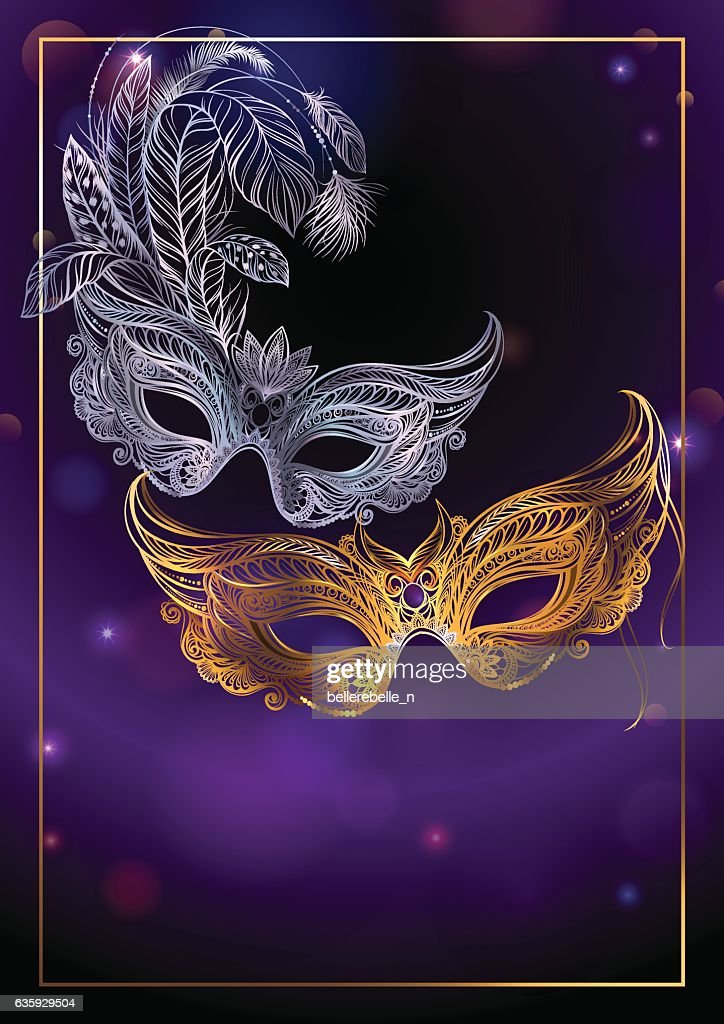Beautiful background with two carnival or theatrical masks.