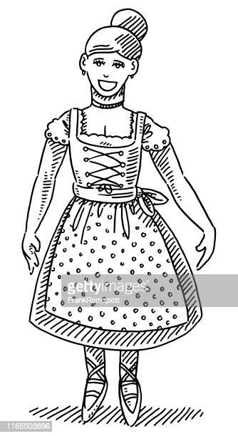 beautiful bavarian woman dirndl drawing - updo stock illustrations, clip art, cartoons, & icons