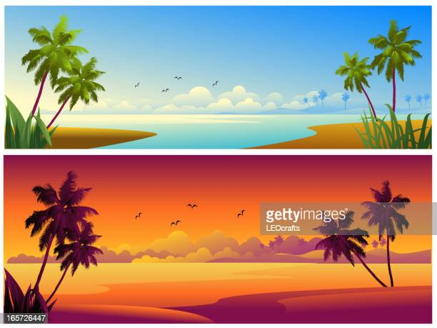 ilustraciones, imágenes clip art, dibujos animados e iconos de stock de hermosa playa fondos/banners - puesta de sol