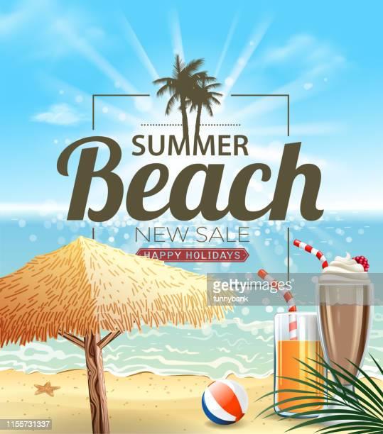 ilustraciones, imágenes clip art, dibujos animados e iconos de stock de hermoso letrero de playa - pelota de playa