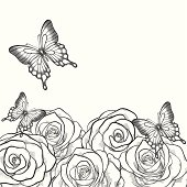 Beautiful black and white card with flowers roses and butterflies