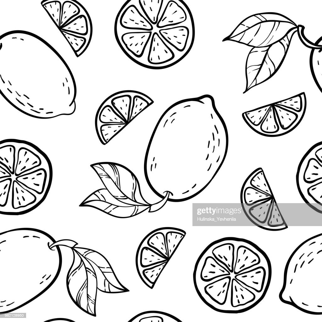 Beautiful black and white seamless doodle pattern with cute doodle lemons sketch. Hand drawn trendy background. design background greeting cards, invitations, fabric and textile.