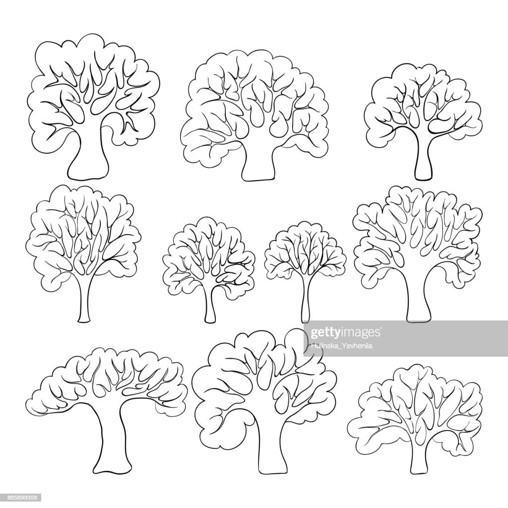 Beautiful black and white set of hand drawn doodle trees Isolated sketch for design background greeting cards and invitation to the wedding, birthday, mother s day and other seasonal autumn holidays