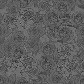 Beautiful black, gray and white rose flower, seamless pattern. Botanical hand drawn silhouette. Flat stylization color