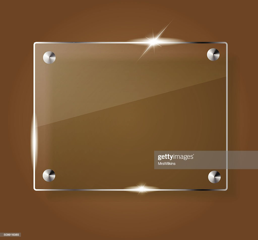Beautiful blank shining glass banner on a brown background vector
