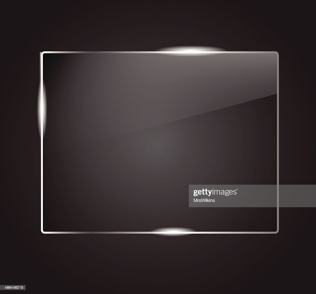 Beautiful blank shining glass banner on a dark background VECTOR