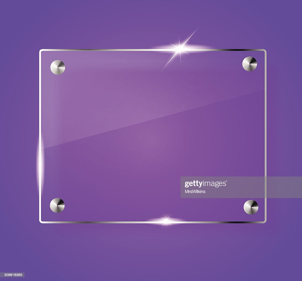 Beautiful blank shining glass banner on a purple background vector