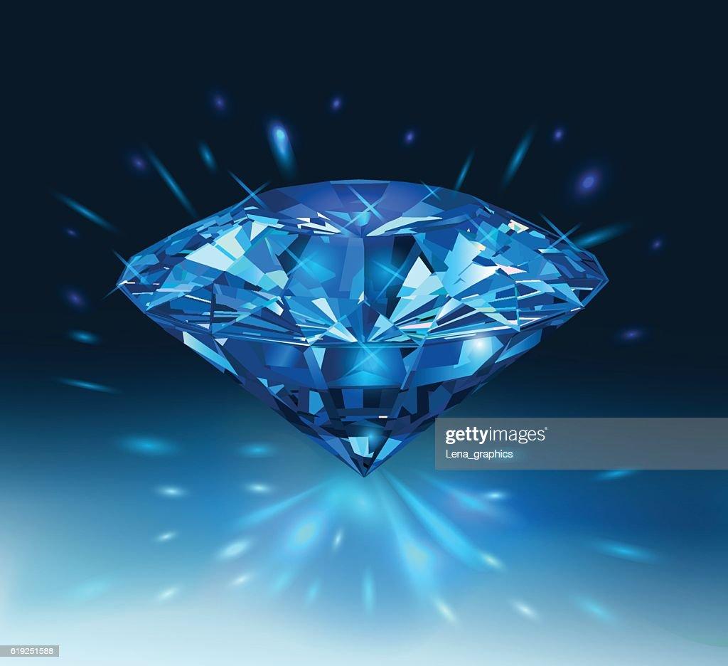 Beautiful blue gemstone sapphire on a darck blue background.