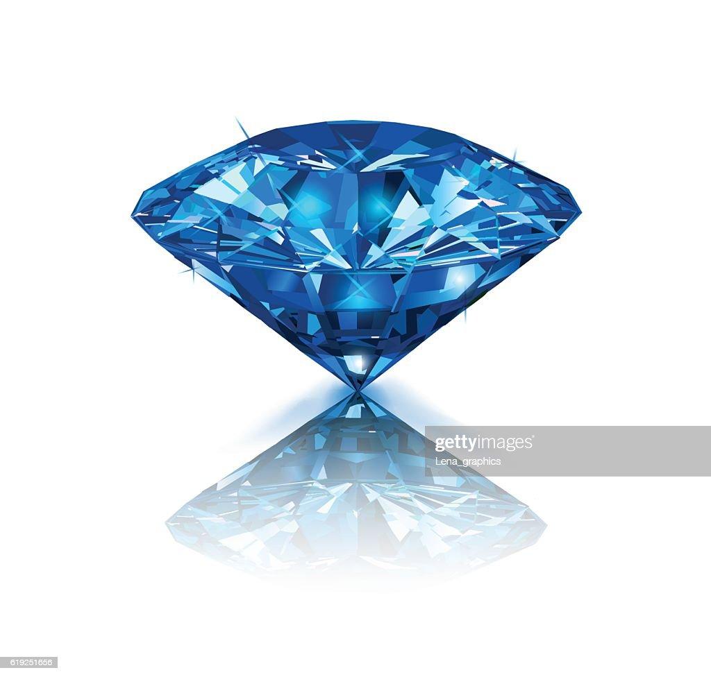 Beautiful blue gemstone sapphire on white background.