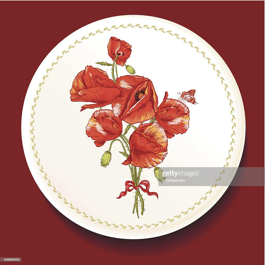 Schönen Strauß roter Mohn auf einem weißen Teller : Vektorgrafik