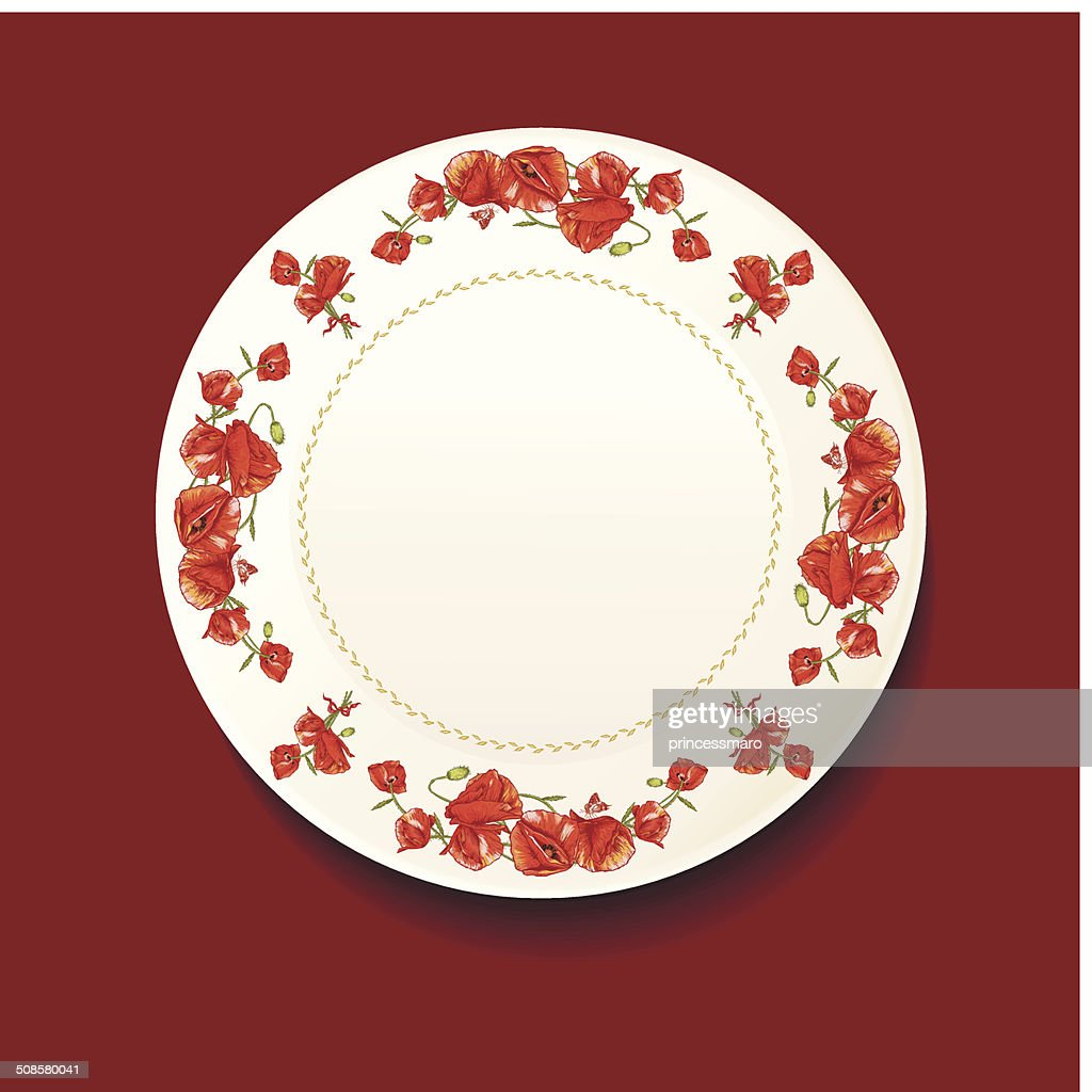 Beautiful bouquet of red poppy on a white plate : Vector Art