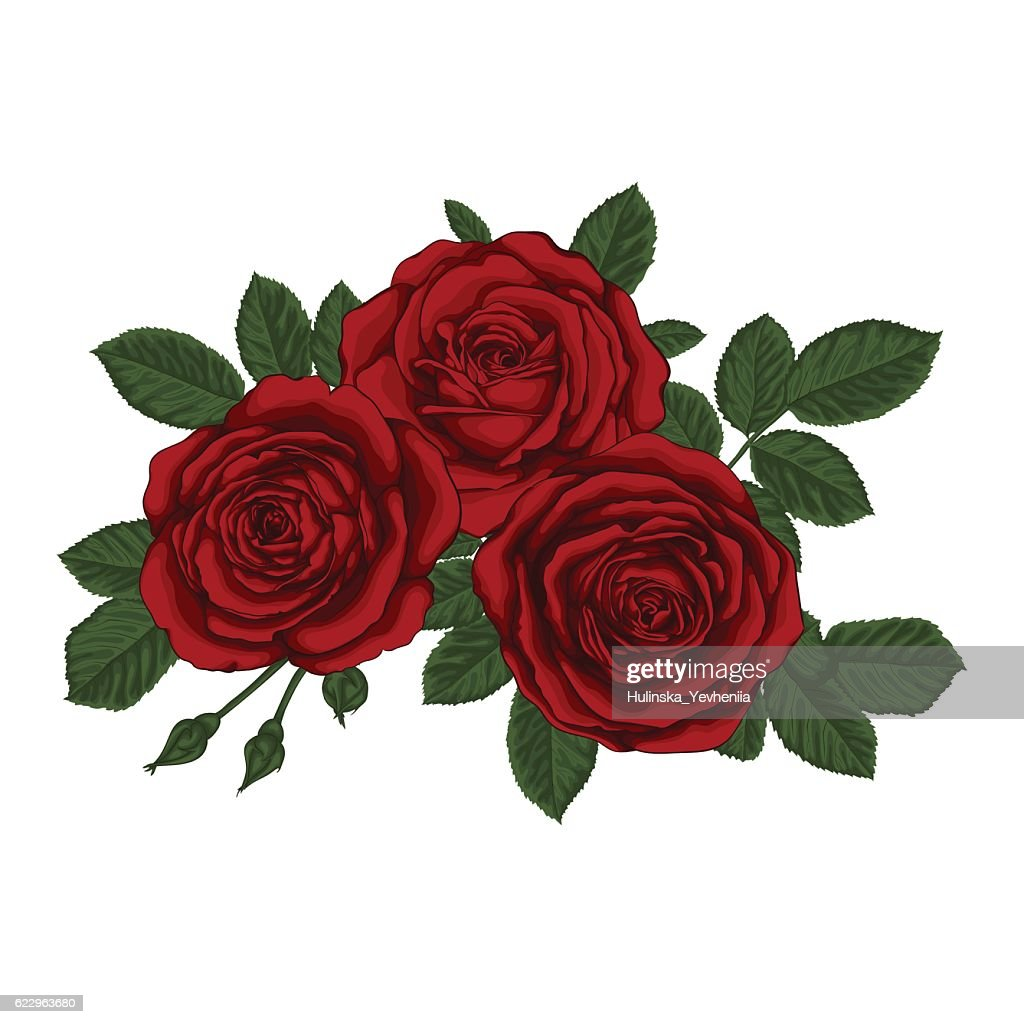 beautiful bouquet with three red roses and leaves. Floral arrangement.
