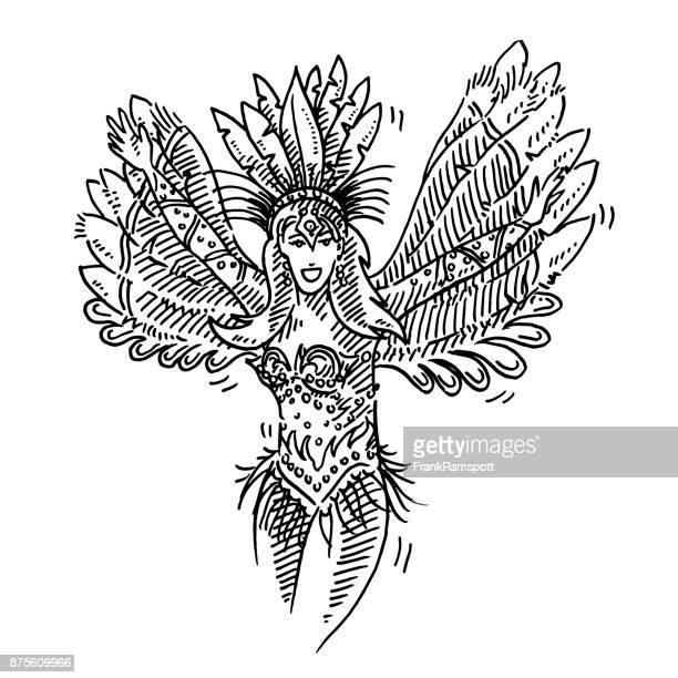 Beautiful Brazilian Carnival Dancer Drawing